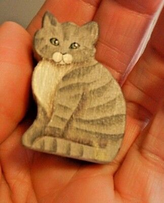 "Miniature Hand Made 1988 Signed Striped Tiger Cat Wood Hand Painted 1"" dollhouse"