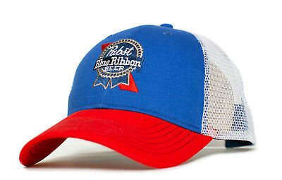 Pabst Blue Ribbon Embroidered Curved Bill Cap Hat Trucker Royal Red