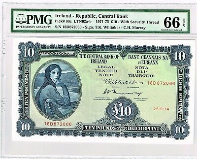 Ireland Central Bank £10 26.9.1974 Pick 66c. PMG Gem Uncirculated 66 EPQ.