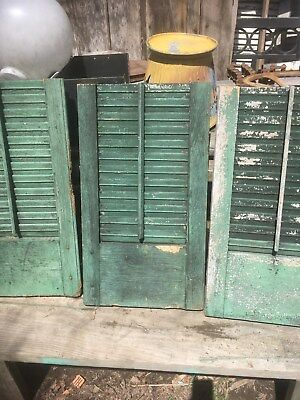 Vtg One  Wooden Window Shutter Architectural Salvage Screen 26 X14