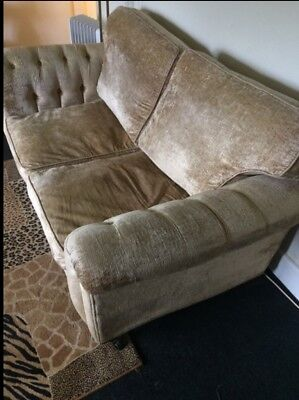 Vintage Gold Velour Settee On Its Original Castors
