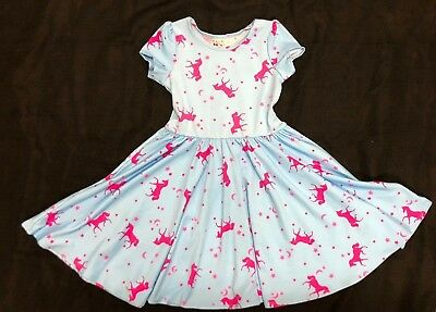 NEW Dot Dot Smile Ballerina Twirl Pink & Blue Unicorn Dress Summer Knit  *7