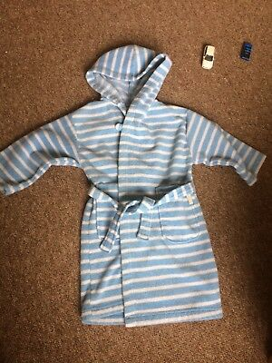Jojo maman Bebe dressing gown, 1- 2 years, blue and white stripe