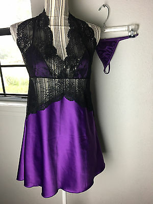 Shirley of Hollywood Womens Purple Black Chemise Sexy Lacy w/ Panties sz LG NWT