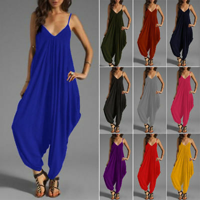 Ankle Woman V-Neck Jumpsuit Loose Harem Playsuit Baggy Rompers Trousers Dress 30