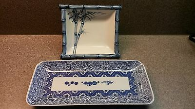 Lot Of 2 Asian Blue And White Porcelain Bowl And Sushi Serving Plate