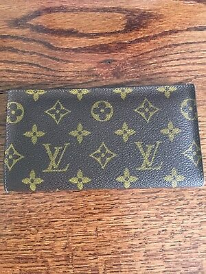 Authentic Louis vuitton Brown Checkbook Cover Checks Holder