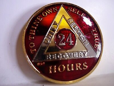AA BSP Red Gold 24 HOUR Coin Tri-Plate Alcoholics Anonymous Medallion Top Grade