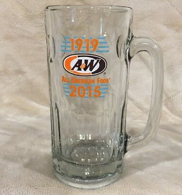 """A&W 2015 All American Food 7"""" Tall Collectors Glass Root Beer Mug AW A & W 1919"""