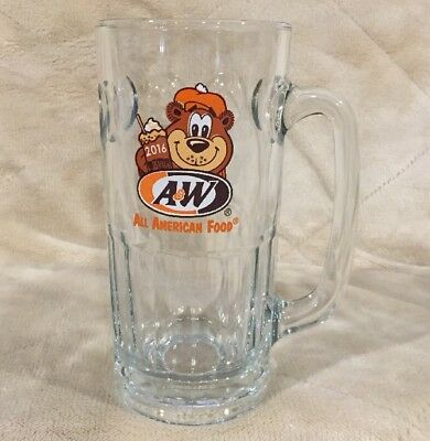 """A&W 2016 All American Food Rooty Bear 7"""" Tall Collectors Glass Root Beer Mug AW"""