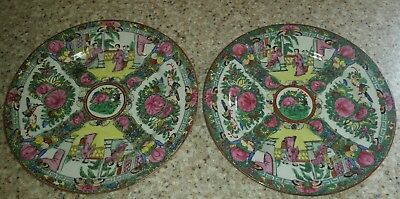 """Chinese Rose Medallion Hand-Painted Porcelain Plates (Set Of 2)10.25"""""""