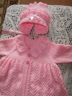 New hand knitted pink matinee coat+bonnet trimmed with Swansdown+ribbons-3-6mths