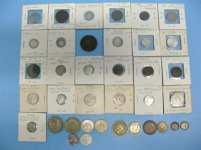World Coin Lot Of 37 Mid 1800's~ Late 1900's Europe Asia Canada Australia + Nice