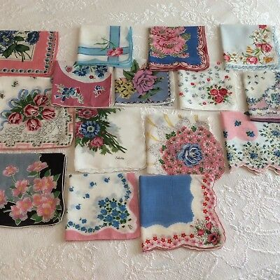 15 Vintage Handkerchiefs Lot - Blues & Pinks - Pretty Hankies In Good Condition