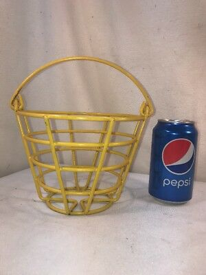 Vtg SMALL Primitive Yellow Coated Metal Wire Farmhouse Egg Gather Bucket Basket