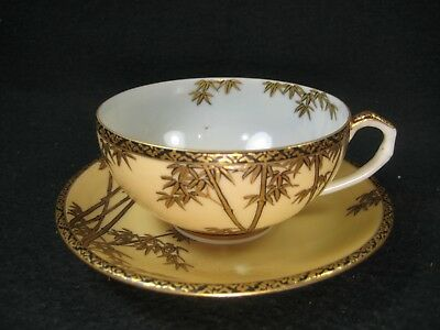 ANTIQUE JAPANESE SIGNED KUTANI TEA CUP AND SAUCER BAMBOO (c.1920)