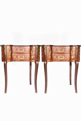 Pair Of, Wood Commode, French style Louis Xv Decorated With Brass