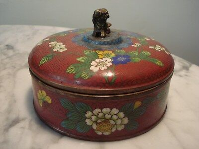 """Antique Cloisonne divided Covered bowl/box Fu Dog handle 6.5"""" x 5"""""""