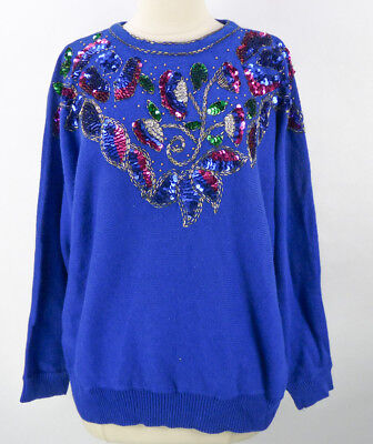 Vintage 80s Beverly Goldberg Sweater Size L XL Royal Blue Beaded Sequins Trophy
