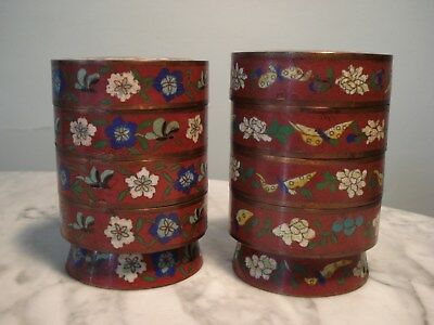 2 Antique Cloisonne enamel Stacked Containers