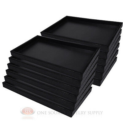 (12) Black Plastic Display Sample Tray Jewelry Organizer Travel Stackable Trays