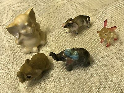 Lot of 5 ~ Vintage Collectible ELEPHANT Miniature Figurines