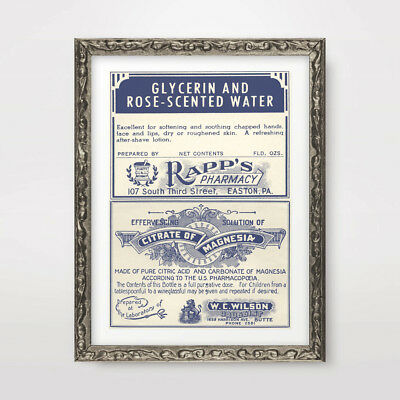VINTAGE PHARMACY CHEMIST LABELS ART PRINT Poster A4 A3A2 Wall Chart Illustration