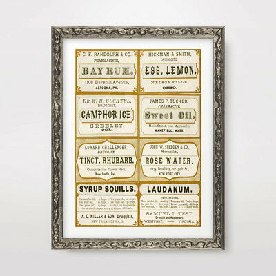 COLLECTION OF VICTORIAN PHARMACY CHEMIST LABELS ART PRINT Poster Wall Chart