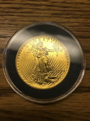 1924 $20 Gold St. Gaudens Coin With Case. Mint Condition