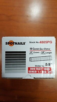 "Spotnails 5000 - 5/8"" Length - Spotnails - 18 Guage Galv Staples - 1/4"" Crown"