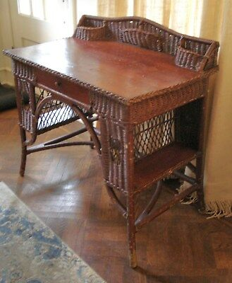 Antique Victorian Brown Wicker Desk