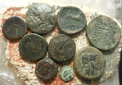 Lot of 9 VF Ancient Greek Coins, Syracuse, Alexander etc.