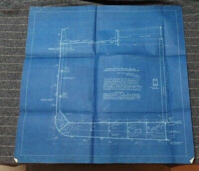 """Original Undated Blueprint Drawing 24"""" x 24"""" - Midship Section for Ship No 112"""