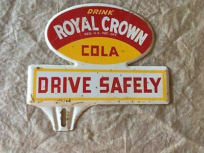 Vintage Drink RC Royal Crown Cola Soda Advertising License Plate Topper Sign