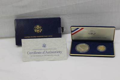 1987 US Constitution Silver Dollar and Gold Five Dollar Proof Set With COA