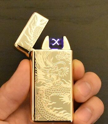 USB Rechargeable Dual Arc Flameless Windproof Electric Lighter - Gold Dragon