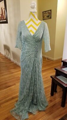 Mother of the bride beautiful dress color aqua size 14 Montage by Mon Cheeri