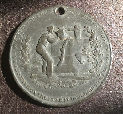 1800's Anti-alcohol Declaration of the Cold Water Army Brass Temperance Token