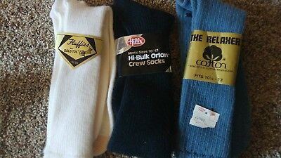 vintage men's socks relaxer cotton Hill's Fluffies gold toe size 10-13 blue