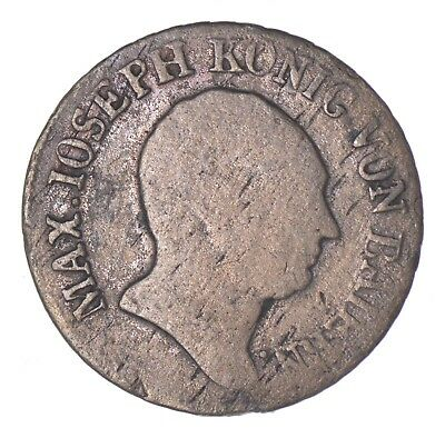 SILVER - 1808 German States Bavaria 6 Kreuzer - World Silver Coin *161