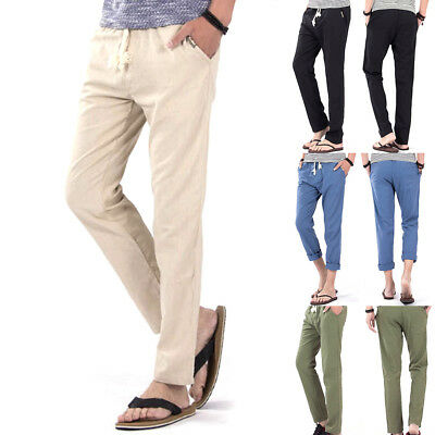 New-Men's cotton trousers lightweight loose linen pants casual trousers All Size