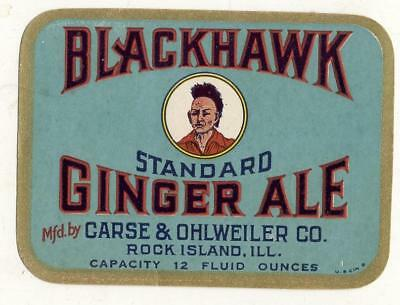 Blackhawk Ginger ale by Chase & Ohlweiler co. Rock island ILL Indian Chief Label