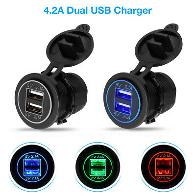12V Car Cigarette Lighter Socket Dual 2.1A USB Port Charger Power Outlet LED USA