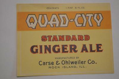 Quad City standard Ginger Ale by Chase & Ohlweiler co. Rock Island ILL  Label