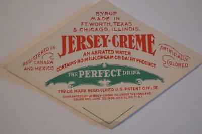 Jersey-Cream by Jersey cream co. Ft, Worth TX & Chicago ILL  1906 date Label