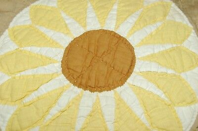 Antique Quilt Sunflower Patchwork Piece 15 x 16