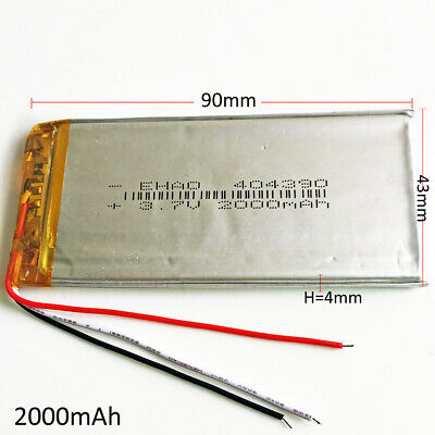3.7V 2000mAh Lipo Li-Polymer Battery 3 wires For PAD Tablet PC Power bank 404390