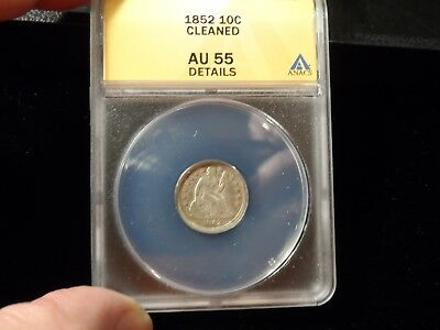 US 1852 Silver Seated Liberty Dime Coin ANACS AU55 Details Cleaned Coin