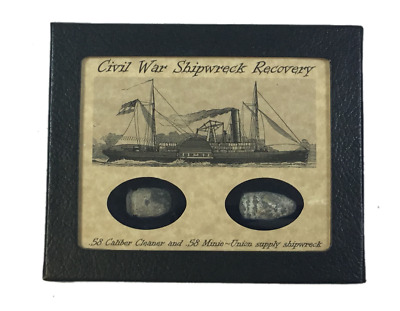 Civil War Bullets from a Union Supply Shipwreck in Display Case with COA