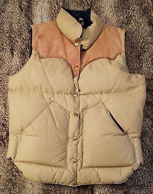70s ROCKY MOUNTAIN FEATHERBED goose down ski vest womens S/M leather trim jacket